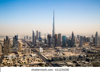 Dubai skyline. Burj Khalifa the tallest building in the world. Dubai Downtown.