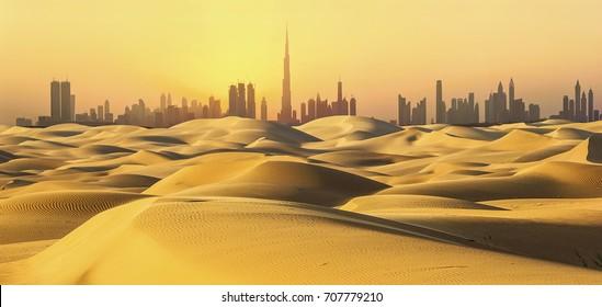 Dubai skyline in desert at sunset.