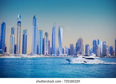 Dubai Skyline Marina Panorama with Yacht - View from Atlantis The Palm Tomasz Ganclerz 12 October 2017