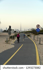 Dubai skyline from Nad Al Sheba bicycle track road, Dubai, United Arab Emirates