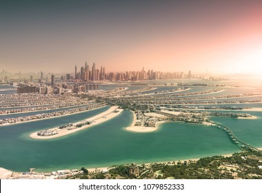 Dubai skyline from Palm Island at sunset