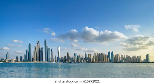 Dubai skyline panoramic sunset view