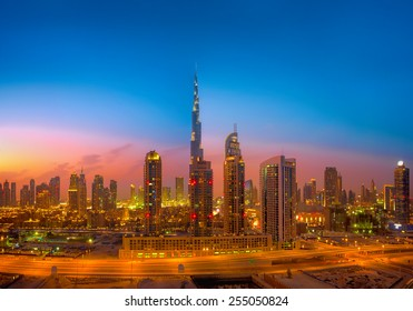 Dubai Skyline photographed during the golden hour