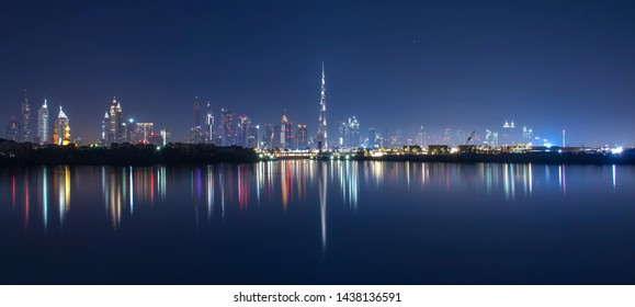The Dubai Skyline and it's reflection.