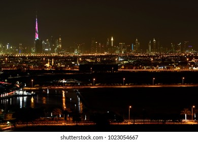 Dubai Skyline from Dubai Silicon Oasis area, Dubai, United Arab Emirates
