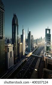 Dubai skyline in sunset time, United Arab Emirates