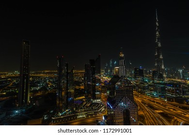 DUBAI SKYLINE, UAE-20th APRIL 2017:-The Burj Khalifa is the tallest building in the world, it takes on a whole new persona at night