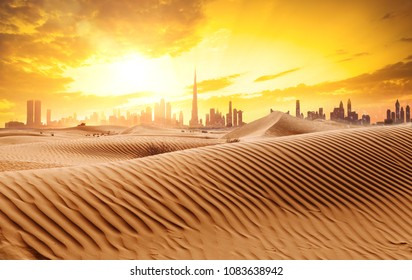 Dubai skyline, view from the desert