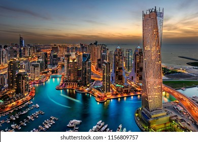 DUBAI SKYLINE VIEW FROM DRONE