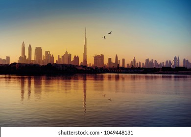 Dubai skyline view during sunrise