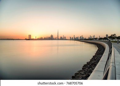 Dubai skyline view during sunset