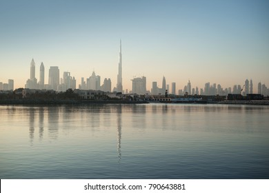 Dubai skyline view during surise