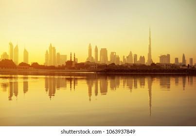 Dubai skyline view at sunrise