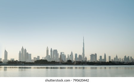 Dubai skyline view at sunset