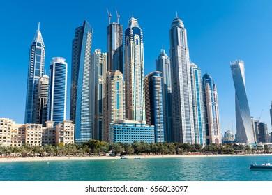 Dubai skyline viewed from boat, United Arab Emirates