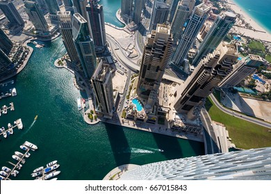 Dubai skyscrapers from above. Futuristic skyline. Dubai Marina aerial view. Skyscraper view.