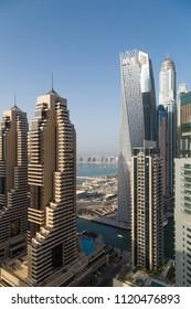 Dubai skyscrapers. Dubai Marina cityscape. Dubai skyline. Dubai tallest buildings. Cayan tower. Princess tower. Office and residential buildings. Futuristic city. Financial center.