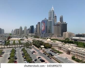 Dubai South Skyline with Sheikh Zayed Road, Dubai Marina, JLT and American University of Dubai in view, June 23, 2019