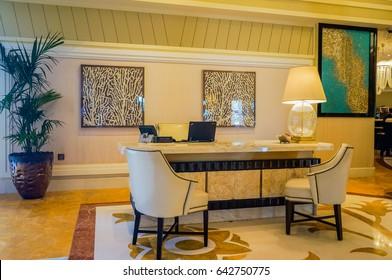 Dubai. Summer 2016. Bright and modern interior the hotel Waldorf Astoria Ras Al Khaimah.