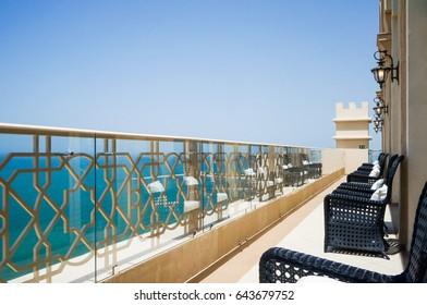 Dubai. Summer 2016. Bright and modern interior the hotel Waldorf Astoria Dubai Palm Jumeirah. The view from the balcony on the Palm Jumeirah.