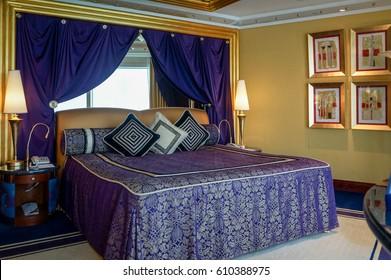 Dubai. Summer 2016. The interior of hotel Burj al Arab. Modern interior design living room famous hotel. Fine fabrics, gold decoration.