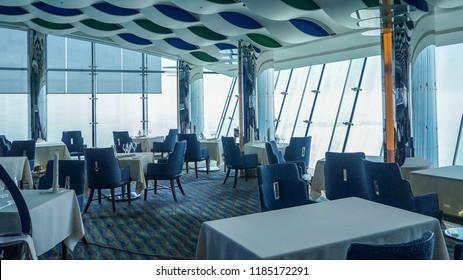 Dubai. Summer 2016. Interior of the restaurant in Burj al Arab hotel.
