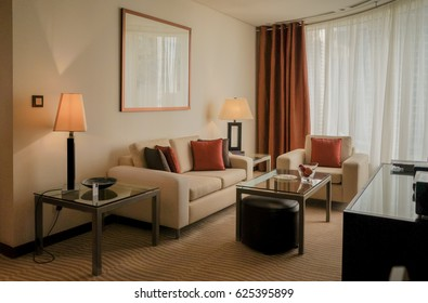 Dubai. In the summer of 2016. Modern and bright interior in the hotel Grosvenor House. Furniture in the interior of the Suite rooms.