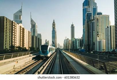 Dubai in summer 2016. Modern urban metro. Welcome Dubai.