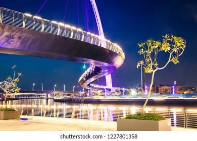 dubai tolerance bridge at night, UAE
