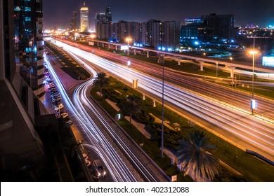 Dubai traffic long exposure - downtown
