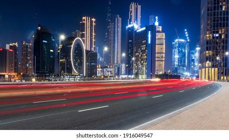 Dubai, UAE - 02.12.2021  Evening hour in Marasi drive, Business Bay District