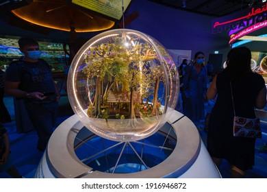 Dubai, UAE - 02.13.2021: Inside one of the halls of a sustainability pavilion of EXPO 2020. Walking Inside The laboratory of future values.