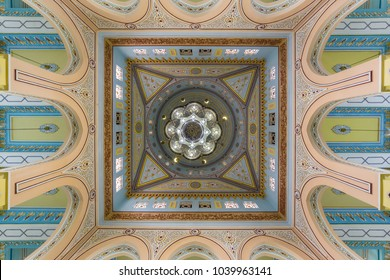 DUBAI, UAE - DECEMBER 03, 2017: chandelier hanging from the dome of  the Jumeirah Mosque in Dubai, UAE