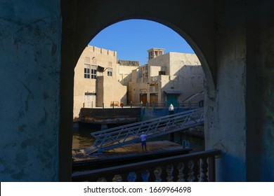 Dubai, UAE. 03/07/2020. Usually crowded with tourists Al Seef historical quarter on Dubai Creek shows the signs of Corona virus consciousness with almost deserted streets and cafes in the weekend.