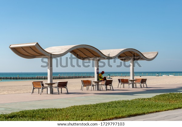 Dubai, UAE. 05/09/2020, An empty sealed public beach in Dubai is restricted for visitors as a measure to prevent the corona-virus infection spread during the Covid-19 world wide pandemic.