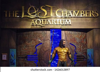 Dubai, UAE, 06-06-19. Photo of the entrance to the Lost Chamber Aquarium. A busy place frequented by tourists from all over the world and which at this moment honors Aquaman.