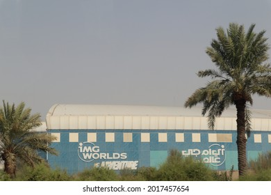 Dubai, UAE, 07-29-2021: IMG Worlds of Adventure as seen from Sheikh Mohammed Bin Zayed Road
