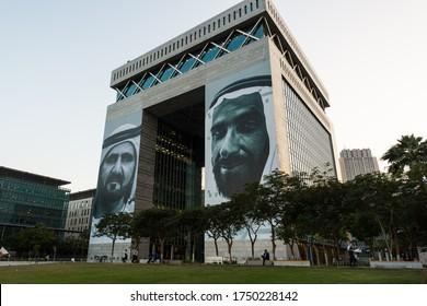 Dubai, Uae , 0ctober 24, 2019. Dubai International financial city ( DIFC) buildings with portraits of UAE rulers. Business district.