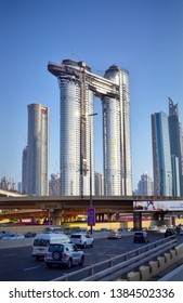 Dubai, UAE - 12 April 2019: iconic landmark Sky view towers by Emaar development in Dubai skyline