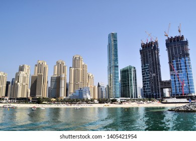 Dubai UAE - 12 April 2019: construction of iconic The Address Residences Jumeirah Resort at Dubai Marina Jumeirah Beach Residence JBR waterfront