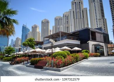 Dubai, UAE - 13 April 2019: famous PF Chang's restaurant at Jumeirah Beach Residence The Walk Dubai Marina