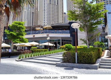 Dubai, UAE - 13 April 2019: luxury restaurants at Jumeirah Dubai Residence The Wal in Dubai