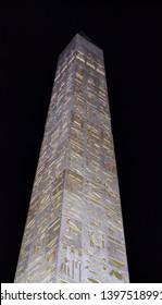 Dubai, UAE - 13 April 2019: famous egyptian obelisk at Wafi shopping mall Dubai