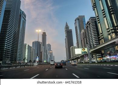 DUBAI, UAE - 13 May 2017 : Sheikh Zayed Road Dubai before sunset