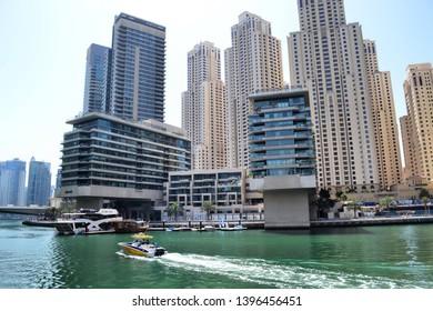 Dubai, UAE - 14 April 2019: luxury three tower residential complex Marina Quays by Emaar Properties at Dubai Marina