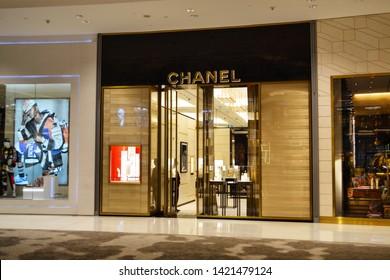 Dubai, UAE - 15 April 2019: luxury brand Chanel store in Fashion Avenue Dubai Mall