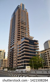 Dubai, UAE - 15 April 2019: Zumurud  Emerald luxury residential tower in Dubai Marina developed by Bin Hamoodah Group and designed by Khatib and Alami