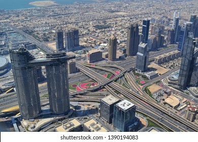 Dubai, UAE - 16 April 2019: view from the top of Burj Khalifa at downtown Dubai at the construction of Emaar Sky view towers
