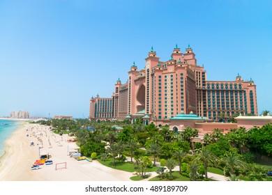 DUBAI, UAE - 16 JULY 2014: Atlantis, the Palm luxury hotel resort is located on an artificial archipelago in the United Arab Emirates.