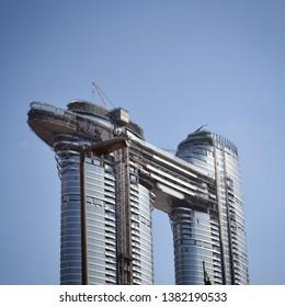 Dubai, UAE - 19 April 2019: detail top Residence Sky View towers modern skyscrapers Emaar